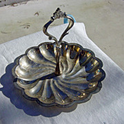SOLD Vintage Silverplated Swirled Design Round Serving Tray With Handle