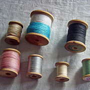 SALE Lot Of Vintage Wooden Sewing Spools With Thread
