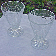 SALE Set Of Two Clear Crackle Glass Tumblers