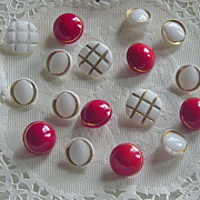 SALE Lot Of Vintage Red & White Glass Buttons Goldtone Accents