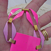 SALE Mod 1960's Era Hot Pink & Lilac Metal Geometric Link Bracelet