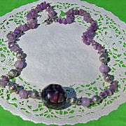 SALE Amethyst Quartz Chip Abalone Shell Center Necklace