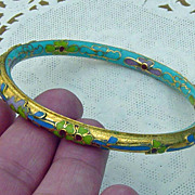 SALE Pastel Color Cloisonne Floral Bangle Bracelet