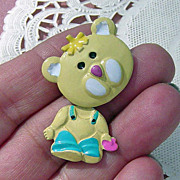 SALE Adorable Teddy Bear Articulated Body Child's Pin