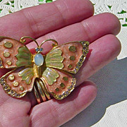 SALE Vintage Signed Lia Faux Opal Enameled Butterfly Brooch