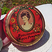 SALE Vintage Daher Fascination Face Powder Edwardian Style Tin