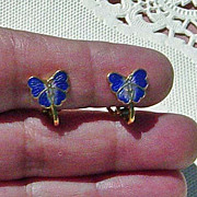 SALE Petite Cobalt Blue Butterfly Cloisonne Clip On Earrings