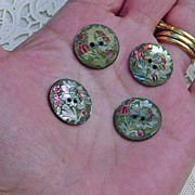 SOLD Vintage Abalone Shell  Carved  Hand Painted Floral  Buttons Set Of Four
