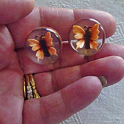 SALE Lucite  Butterfly  Reverse Carved Screw On Earrings