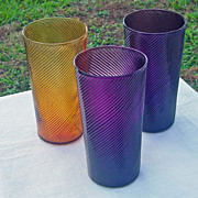 SALE Set Of Three Swirled Glass Tumblers Mauve Gold Color