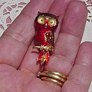SOLD Vintage Owl  Red Brown Enameled Pin