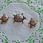 SALE Vintage Filigree 800 Silver Vermeil Turtle Brooch Earring Set