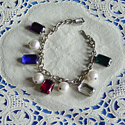 SALE Korea Colorful Emerald Cut Acrylic Rhinestone Faux Pearl Charm Bracelet