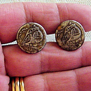 SALE Vintage Train Art Deco Design  Button Studs Set Of Two Matching