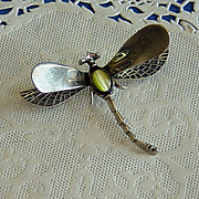 SALE Sterling Silver Dragonfly Peridot Cat Eye Cabochon Mexico Brooch