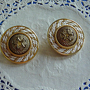 SALE Retro Nautical Rope Star Center Large Round Clip On Earrings