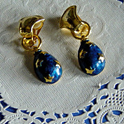 SALE Retro Star Design Blue Enameled Egg Shaped Dangling Clip On Earrings