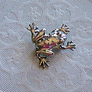 SALE Sterling Silver Bumpy Frog Brooch