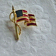 SALE Vintage Enameled Waving American Flag Brooch