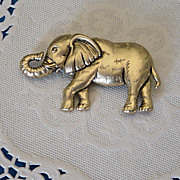 SALE Retro Large Textured Elephant Brooch