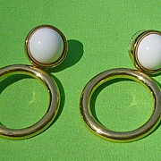 SALE Monet White Cabochon Center Hoop Pierced Earrings