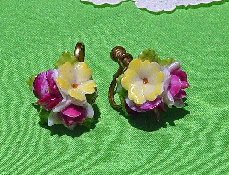 Vintage Japan Porcelain Flower  Screw-On Earrings