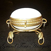 SOLD Palais Royal white opaline egg casket