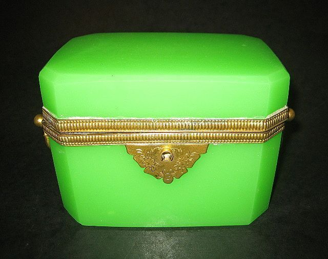 Fabulous French circa 1860 Green Opaline casket with Double Handles