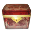 Bohemian circa 1850 ruby glass box engraved with deers