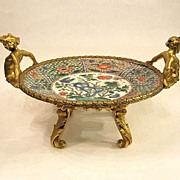 SOLD Chinese Kangxi 18th Century porcelain and dore bronze tazza