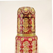 SOLD Fabulous Bohemian Ruby Red enamelled Decanter Set circa 1860
