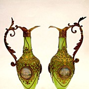 SOLD Pair Palais Royal Green Opaline Dore Mounted Ewers