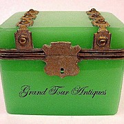 SOLD French 19th Century Green Opaline Casket with Dore Bronze Mounts