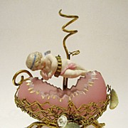 SOLD French Palais Royal Pink Opaline Egg casket with Posy-Holder