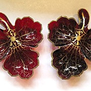 SOLD Pair Bohemian 19th Century Large Ruby Red Leaf Dishes