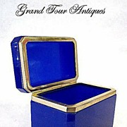 SOLD Stunning Blue Crystal Glass Box Casket