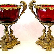 SOLD Pair French 19th Century Ruby Red Tazzas with Dogs
