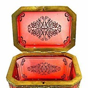 SOLD A Super French 19th Century Red Glass Casket beautifully decorated with gold