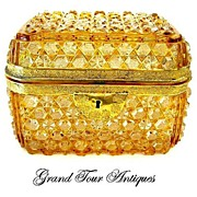 SOLD Fabulous Bohemian 19th Century Amber Cut Crystal Casket
