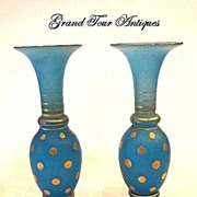 SOLD Pair Miniature French 19th Century Blue Opaline Vases