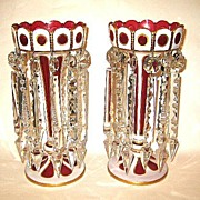 SOLD A Pair of Bohemian 19th century Overlay Glass Lustres