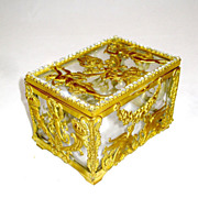 Napoleon III Dore Bronze Casket with 'Diamante' Jewels