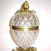 SOLD French Circa 1900`s Pineapple Diamond Cut Crystal Glass Box