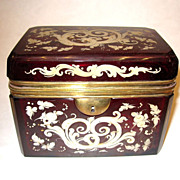 Bohemian 19th Century Deep Red Enameled Casket