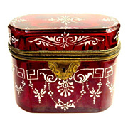Bohemian 19th Century Ruby Red Enameled Casket