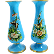Pair Of French 19th century Blue Opaline Glass Vases Enameled with Flowers and Butterflies