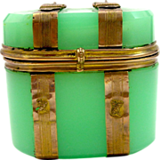 Dinky French 19th Century Green Opaline Glass `Chest Box`.
