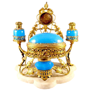 Fabulous LARGE French 19th Century Blue Opaline Glass perfume set