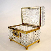 French 19th Century Cut Crystal Glass Casket