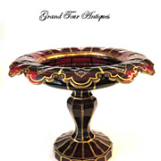 SOLD Bohemian 19th Century Ruby Red Cut Crystal Glass Tazza